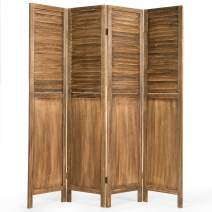 Giantex 4 Panel Wooden Room Divider Screen, Portable Folding 6 ft Partition Screen, Wood Panel Divider Wall Divider, Solid Folding Privacy Screens for Home Office Divider Screen (Khaki)
