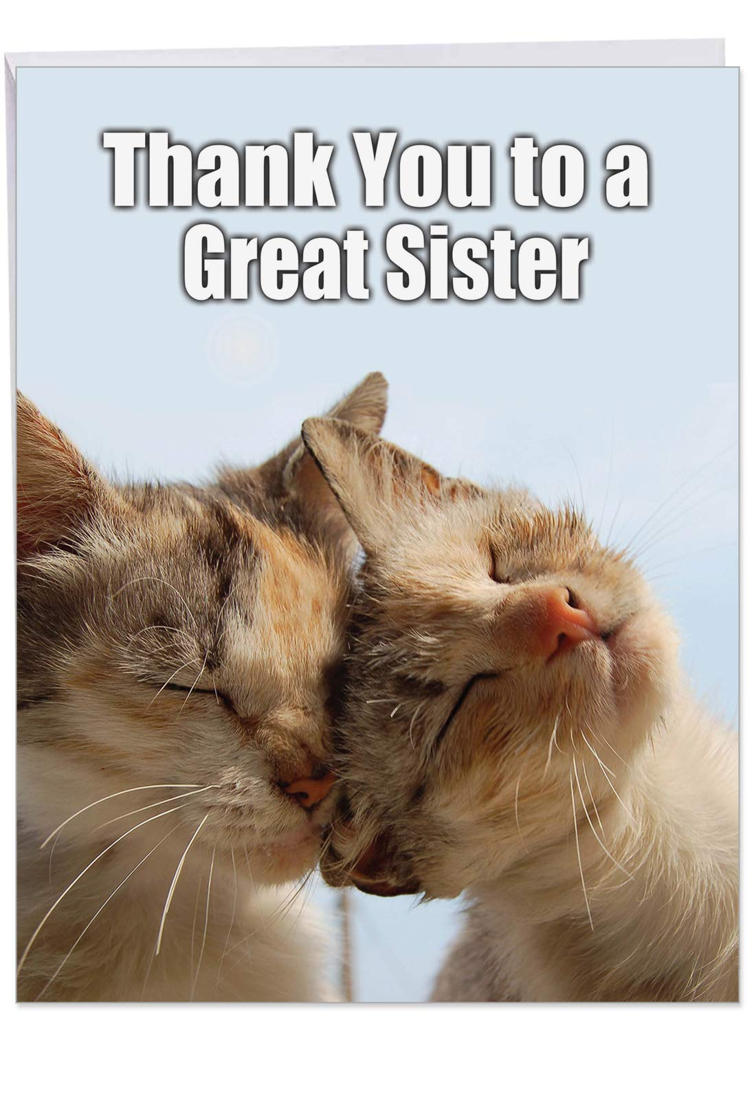 Cute Cat Thank You Card with Envelope 8.5 x 11 Inch - Big 'Thank You to a Great Sister' Greeting Card - Large Appreciation Stationery for Birthdays, Weddings, Holidays J9111