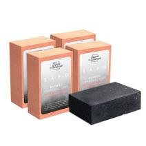 SAPO Organic Bamboo Charcoal Soap Bar [4 Packs] - 100% Natural US Handmade - Face and Body Cleanser For Acne, Psoriasis, Eczema, Sensitive Skin - Coconut Oil, Oatmeal, Shea Butter - 4 Oz Each Bar