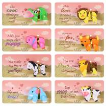 Unomor 32 Set Valentines Day Cards for kids 8 Patterns Valentine Greeting Cards with 3D Animal Erasers for Valentines Gift Exchange Party Favors