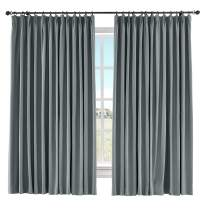"ChadMade 60"" W x 84"" L Solid Cotton Linen Curtain Panel Pinch Pleated Drape Light Block Curtain Kid Room Drape Bedroom Living Room Sliding Door Panel, (Grey, 1 Panel)"