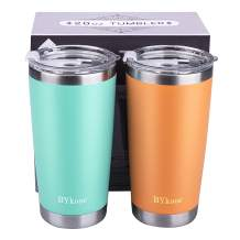 20oz Tumbler with lid,BYkooc Stainless Steel Vacuum Insulated Double Wall Travel Coffee Mug with Straw, Durable Insulated Tumbler Cup, for Home, Outdoor, Office(Green + Coral Orange)