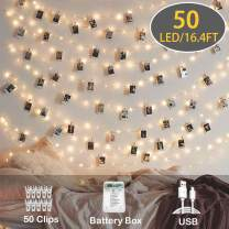 Upgrade Version Photo Clip String Lights - Fairy String Lights - 8 Modes USB/Battery Powered Waterproof Decor Lights for Bedroom, Birthday Party Wall Decor Wedding (50LED/17FT)