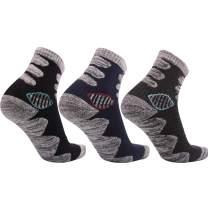 Mens Hiking Socks Work Socks Moisture Wicking Cushion Crew Sock for Trekking Camping Climbing Outdoor Sports, 3 Pairs