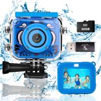 Suhleir Kids Camera, Waterproof Kids Digital Camera DV for Girls and Boys, High Resolution Kids Video Sports Camera, 1080P HD Camera for Kids Compatible with 32GB Memory Card. (Blue)