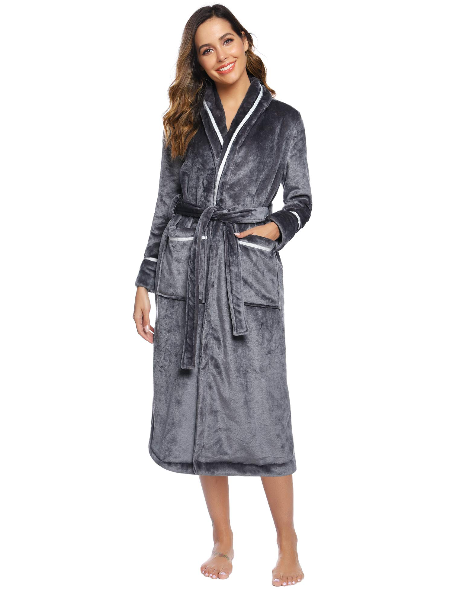 Hawiton Women's Fleece Robes with Hood, Luxu Soft Bathrobe Loungewear Nightgown with Pockets