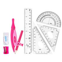 Deli 8 Pieces Compass Set, Math Geometry Kit Set for Students, Includes Rulers, Set Squares, Protractor, Compass, Pencil, Pencil Sharpener, Eraser, Pink