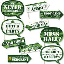 Funny Camo Hero - Army Military Camouflage Party Photo Booth Props Kit - 10 Piece