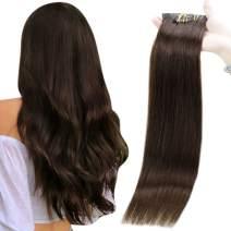 Full Shine Seamless Clip in Hair Extensions Human Hair 8 Pcs 22 Inch Dark Brown PU Clip in Skin Weft Hair Extensions, Remy Hair Seamless Clip in Extensions Color 2