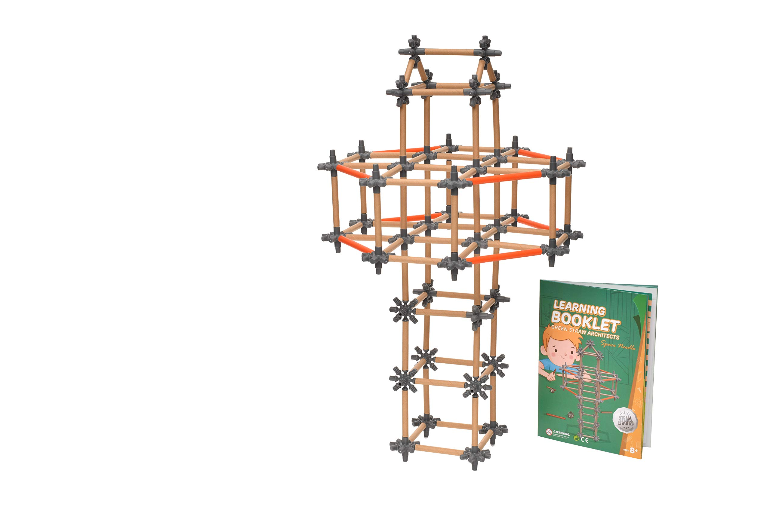 PLAYSTEAM Green Straw Building Stem Toy Kits-Paper Material Safe for Kids-Fun Educational Building Toy Set for Boys and Girls Ages 5 6 7 8 9 10 Year Old- Great Science Experiment