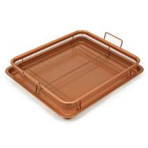 Kitchen Royale's Royal Copper Crisper Air Fry Pan (AS SEEN ON TV) – Ceramic Coated Tray & Non-Stick Basket - Healthy Oil Free Frying Option For French Fries, Chicken, Onion Rings & More