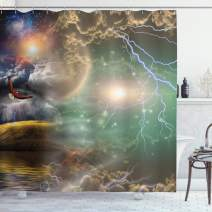 """Ambesonne Fantasy Shower Curtain, Different Sky Celestial Events with an Eagle Thunderstorm Clouds Outer Space Image, Cloth Fabric Bathroom Decor Set with Hooks, 70"""" Long, Green Gray"""