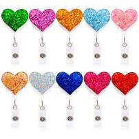 Ascrafter 10 Pack Bling Retractable Badge Reel with Alligator Clip, ID Name Card Badge Clip Holder