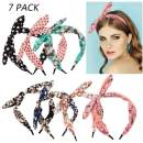 Headbands with Bow Printed Headband for Girl Headbands Cute Rabbit Ears Headbands Turban Headbands for Women 7 pcs