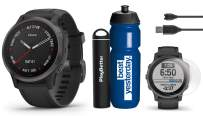 Garmin Fenix 6S Sapphire (Gray with Black Band) Premium Gift Set Bundle | with Garmin Water Bottle, HD Screen Protectors & PlayBetter Portable Charger | PulseOx, PacePro, Maps, Spotify & Music