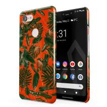 BURGA Phone Case Compatible with Google Pixel 3 XL - Neon Orange Palm Trees Leafs Tropical Exotic Summer Green Palms Cute Case for Women Thin Design Durable Hard Plastic Protective Case