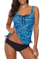 Dearlove Women's Strappy Push Up Printed Tankini Swimsuits with Brief S-XXXL