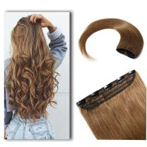 """100% Real Hair Extensions Clip in Remy Human Hair 24"""" 60g One-piece 5 Clips Long Straight Hair Extensions for Women Wide Weft Soft Silky #6 Light Brown"""