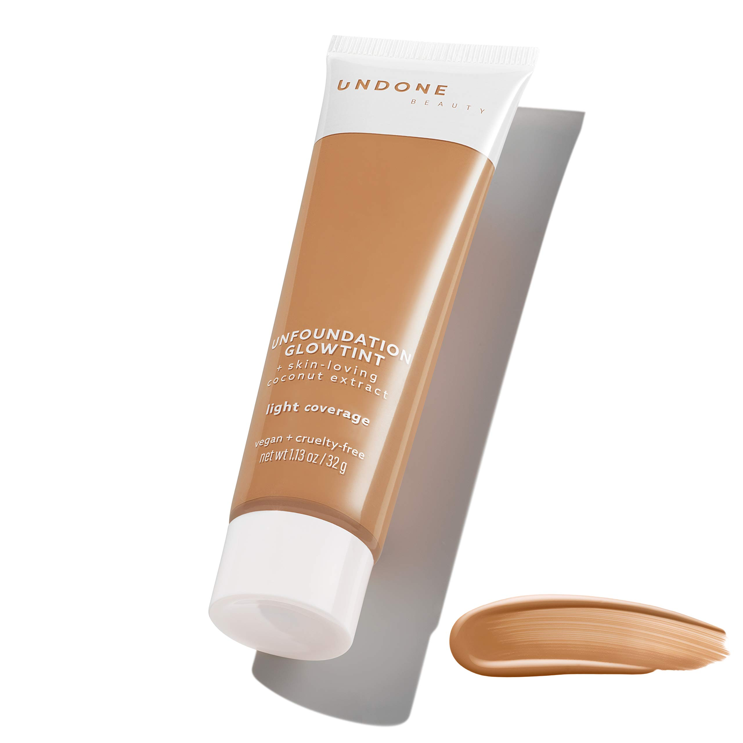 Light Coverage Glow Tint Foundation. Coconut for Natural, Dewy Deep Neutral Glow – UNDONE BEAUTY Unfoundation Glow Tint. Enhances Face Shape, Cheeks & Jawline. TOASTED ALMOND MEDIUM DARK