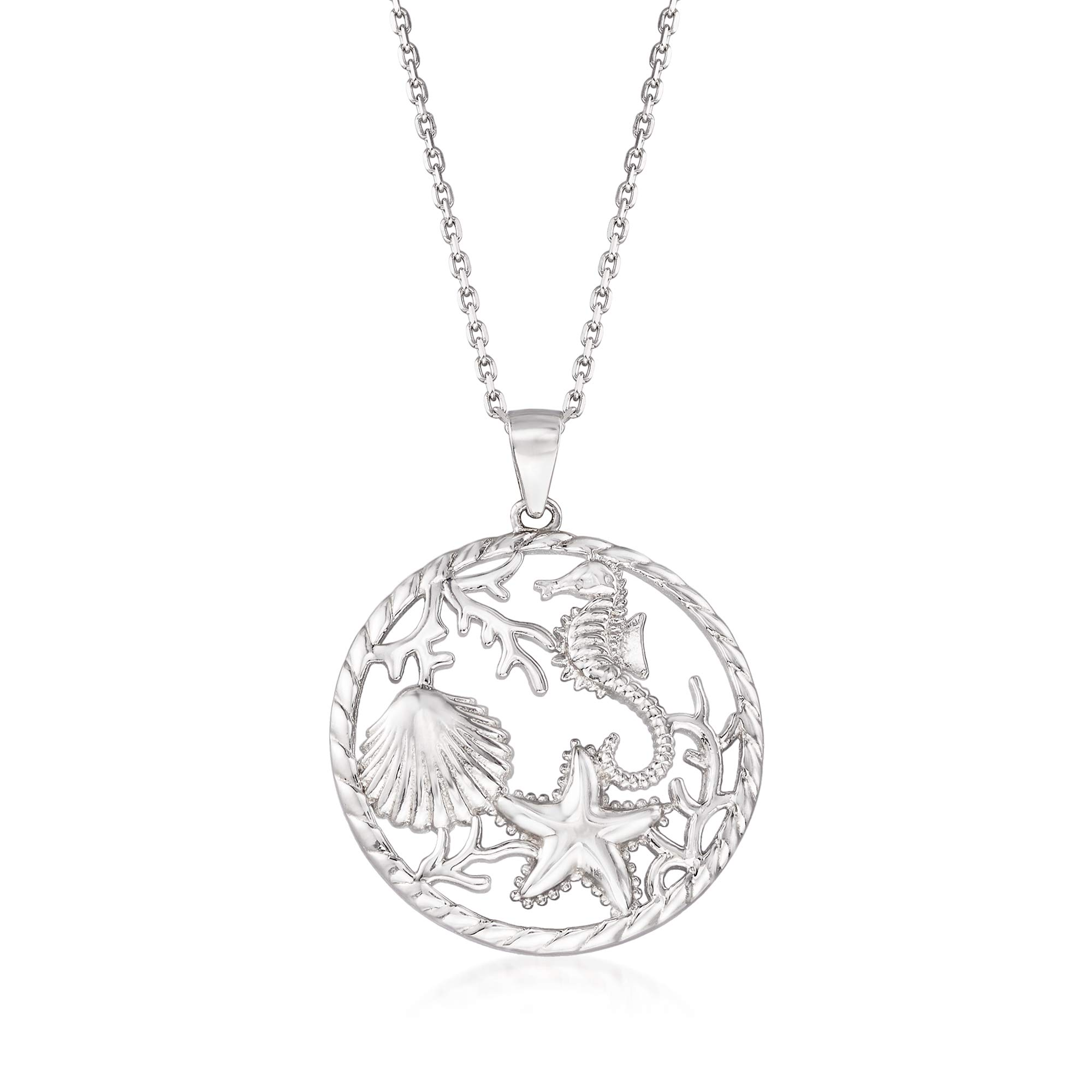 Ross-Simons Sterling Silver Sea Life Pendant Necklace