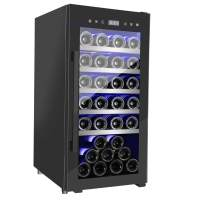 FANCOOL Compressor Wine Cooler 41 Bottle Air-Cooled Frost Free Freestanding Wine Cellars, 16 Inch Wine Refrigerator LED Touchscreen, Professional Wine Fridge 41-68°F, Double Glass Door Beech Shelf Black