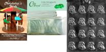 Cybrtrayd Small Bells Wedding Chocolate Candy Mold with Chocolatier's Bundle, Includes 25 Cello Bags, 25 White Twist Ties and Chocolatier's Guide