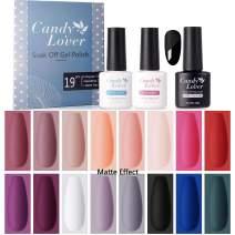 Candy Lover Gel Nail Polish 19 PCs Set, 16 Popular Colors Base Top Coat Matte Top Coat Nail Gel Polish Kit - Soak Off UV LED Home Varnish Nail Art Rose Pink Blue Series