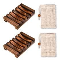 WATSABRO Soap Dish 4 Pcs Set - Handmade Soap Box Made of Natural Pine and Soap Exfoliating Bag Natural Soap Saver