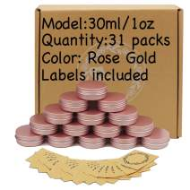 31pcs 1oz/30ml Rose Gold Aluminum Tin Jar with Screw Lid and Blank Labels