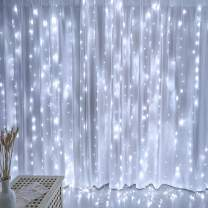 White Twinkle Curtain Lights, Romantic Wedding Lights, 10 Ft Connectable Curtain Lights with 8 Twinkle Modes Led Fairy Lights for Bedroom, Waterproof Outdoor String Lights for Wedding Decorations