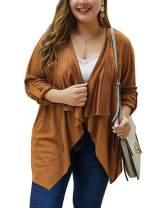 CHARLES RICHARDS Women's Plus Size Cardigan Open Front Asymmetric Hem Adjustable Cuff Wrap Trench Coats
