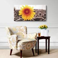 Living Room Wall Art Décor Sunflower Canvas Prints Flowers Painting Modern Framed Bedroom Home Decor Family Large Floral Picture Ready to Hang Yellow 20x40inch