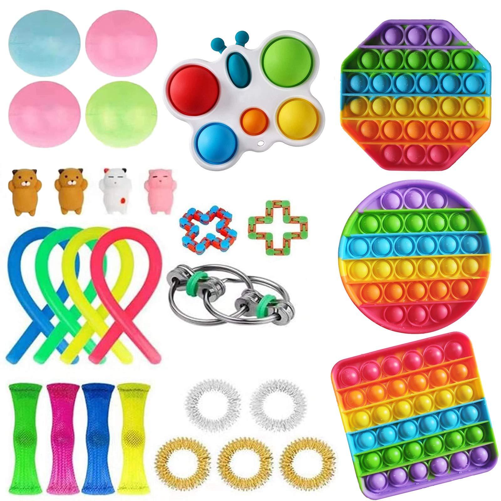 Elippeo Fidget Toys Set, Simple Dimple Fidget Toy 25 Packs Cheap, Push Pop Bubble Sensory Toy, Fidgeting Game Kill Time Tools for Kids and Adults (A-1 Fidgets Box)