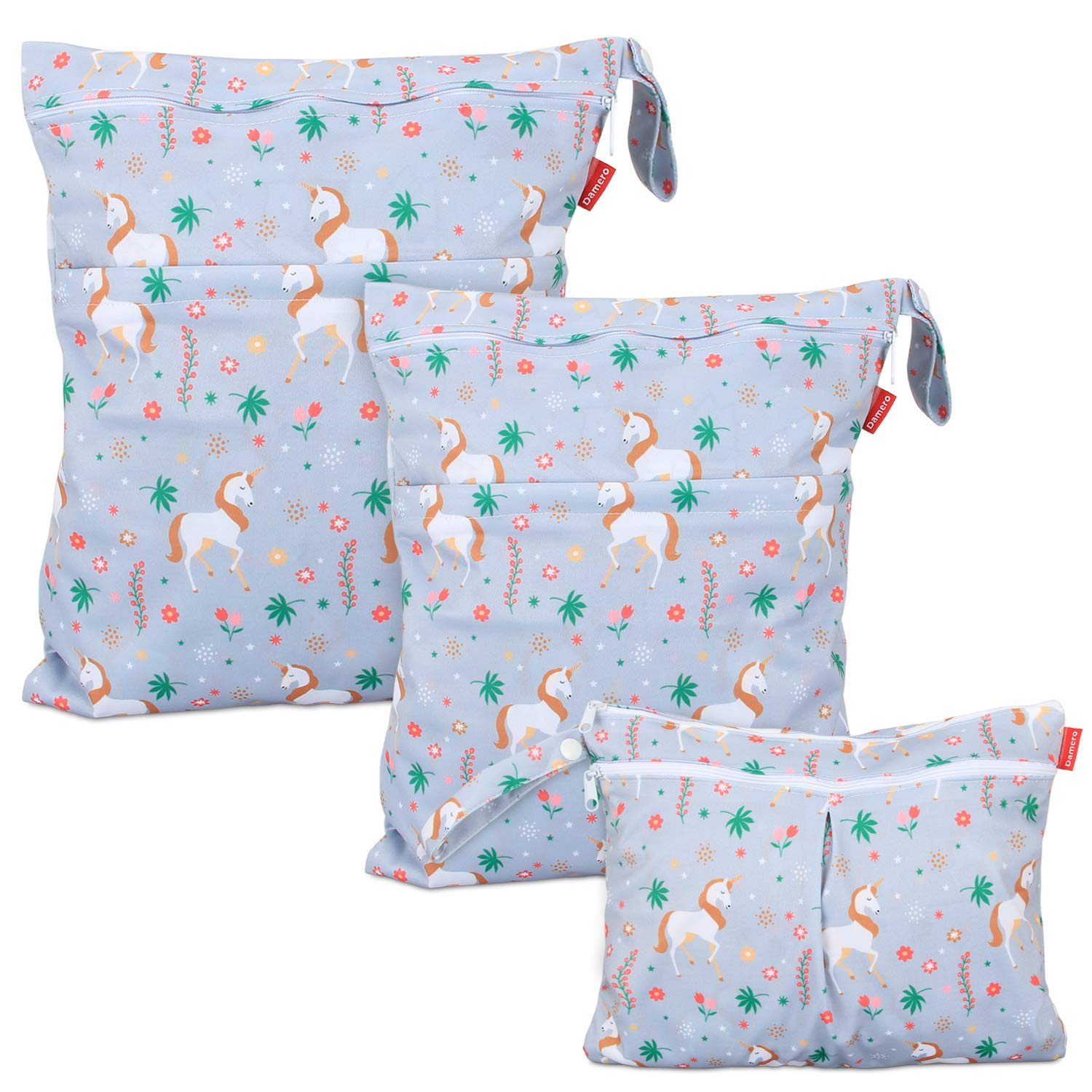 Damero 3Pcs Wet Dry Bag with 2 Zippered Pockets and Snap Handle for Cloth Diaper, Swimsuit, Clothes, Ideal for Travel, Exercise, Daycare, Roomy and Water-Resistant (Unicorn)