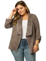 Agnes Orinda Women's Plus Size Open Front Cardigan Casual Blazer Faux Suede Jacket