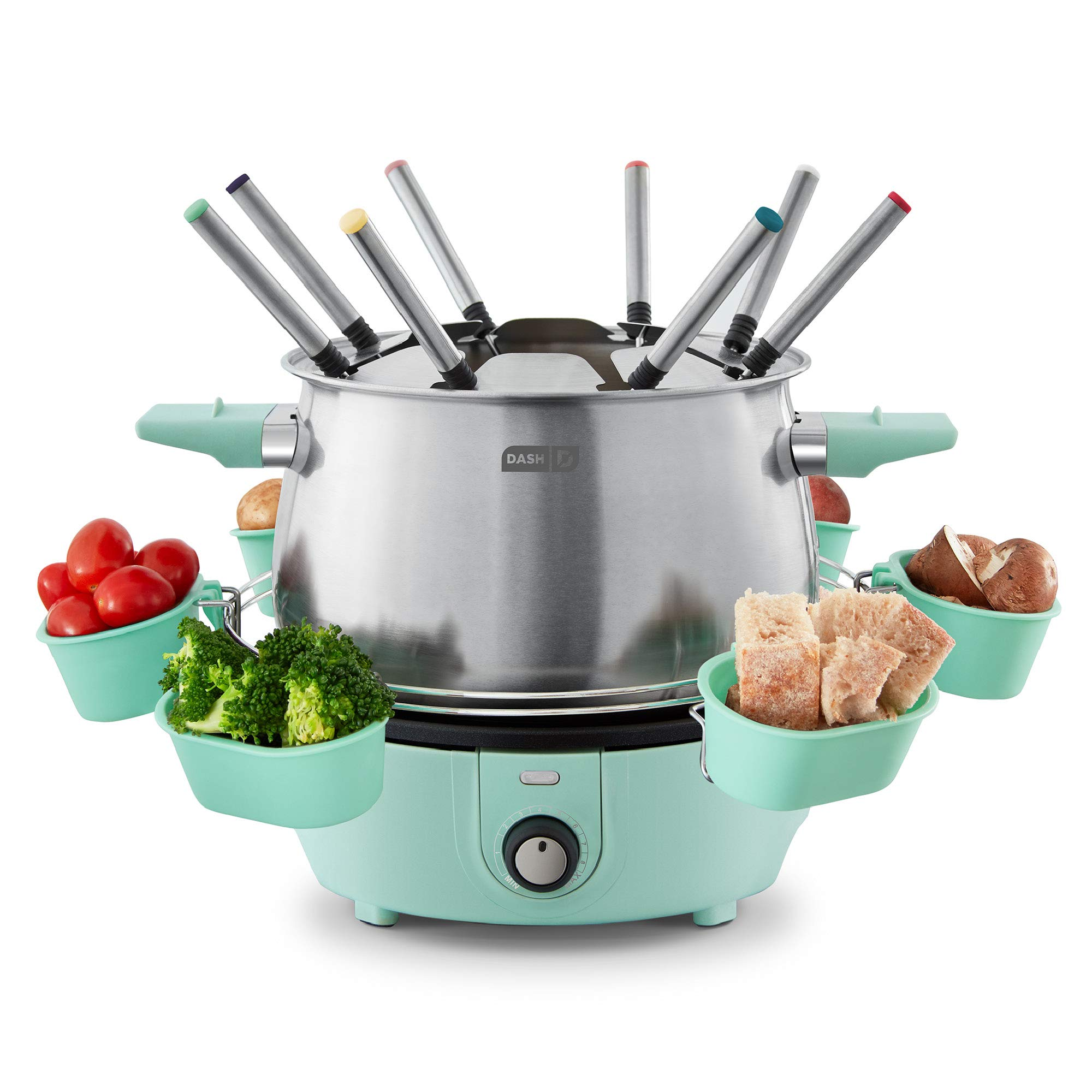 Dash DFM250GBAQ04 Deluxe Stainless Steel Fondue Maker with Temperature Control, Forks, Cups, and Rack, with Recipe Guide Included, 3-Quart, Non-Stick, Aqua