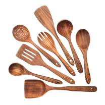 Asaph Home 8-Piece Teak Wood Cooking Utensil Set |Wooden Spoons For Cooking |Spatula Set | Serving Spoons | Serving Utensils | Kitchen Utensils Set | Spurtle