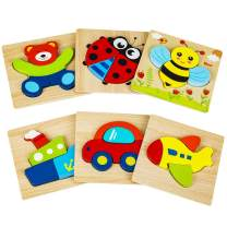 Cyiecw Wooden Jigsaw Puzzles, Wooden Shapes Puzzles for Toddlers 1 2 3 Years Old, Educational Toys Gift with 3 Animals, 3 Vehicles for Boys Girls(6 Pack)