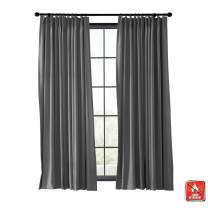 TWOPAGES Blackout Thermal Insulated Room Darkening Curtain Flame Retardant Pinch Pleat Window Drape Fire Resistant Curtain for Living Room (Gray, 1 Panel, 50 x 96 Inches)