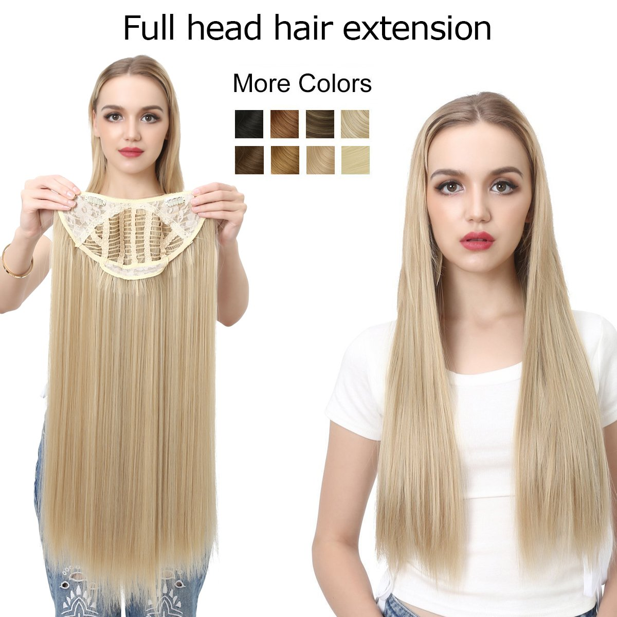 """Clip in Hair Extension Blonde Straight Long Thick Full Head One Piece U shape 24"""" 0.37lb 170g Synthetic Hairpiece For Women Natural Real Hair Piece Japan High Temperature Fiber(UH16#613)"""