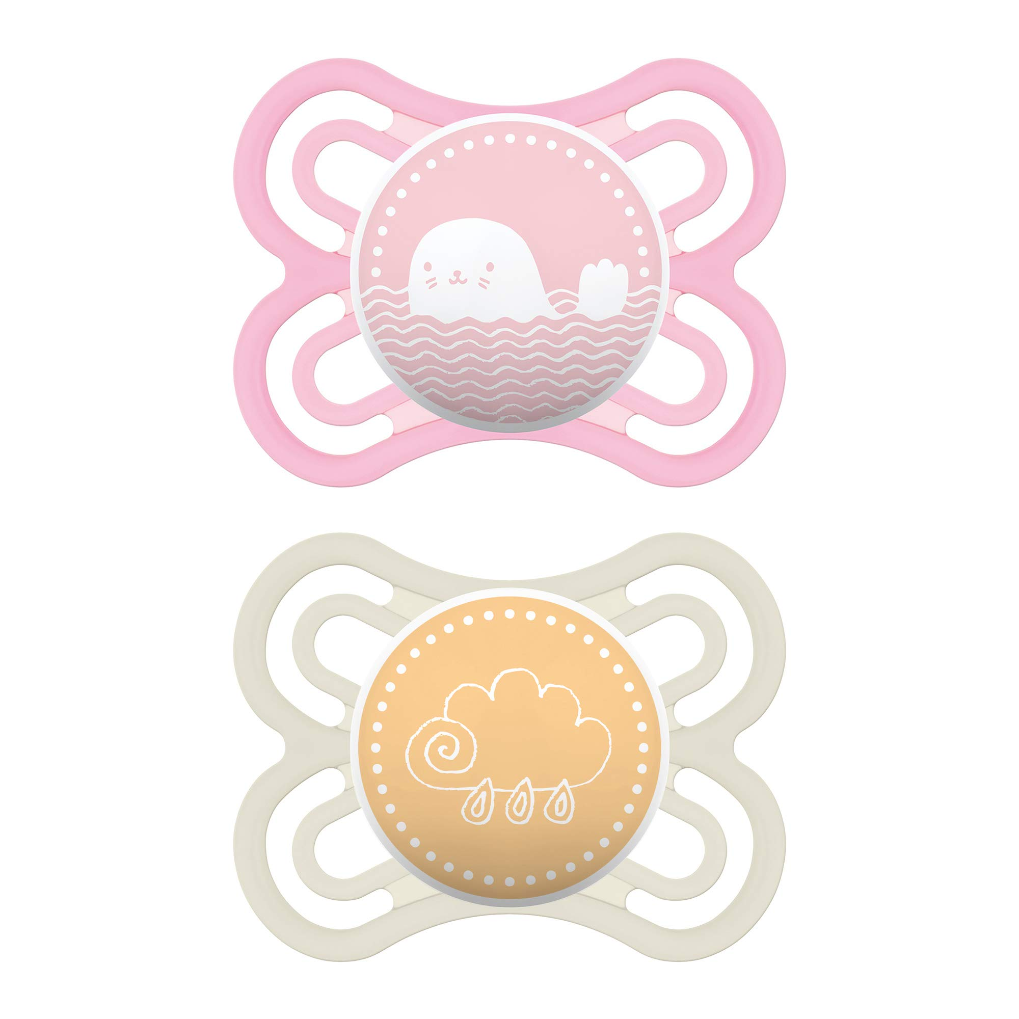 MAM Perfect Pacifiers, Baby Pacifiers 0-6 Months (2 pack), Best Pacifier for Breastfed Babies, Orthodontic Pacifier, Baby Girl Pacifier