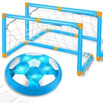 Kids Easter Toys, Rechargeable Hover Soccer Ball Set with 2 Goals Air Soccer LED Light Floating Football Foam Bumper Indoor Outdoor Sports Holiday Toys Easter Basket Stuffers for Girls Boys Age 3-14