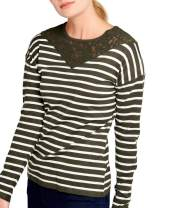 BENANCY Women's Crewneck Striped Long Sleeve Soft Pullover Knit Sweater Tops