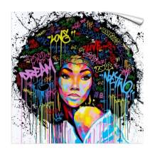 """FONWAPAI African American Black Girl Canvas Printing Wall Decor,POP Art Wall Decoration,Modern Abstract Picture for Bar(Strapless,20""""x20"""",UnFramed)"""