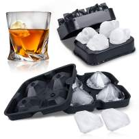3D Skull Diamond Flexible Silicone Ice Cube Molds Tray - Pack of 2 Reusable and BPA Free For Whiskey Cocktail Beverages