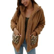 Ularma Brown Faux Fur Jackets Teddy Jacket for Women Plus Size Winter Shaggy Coats Outwear with Patches Leopard Pocket