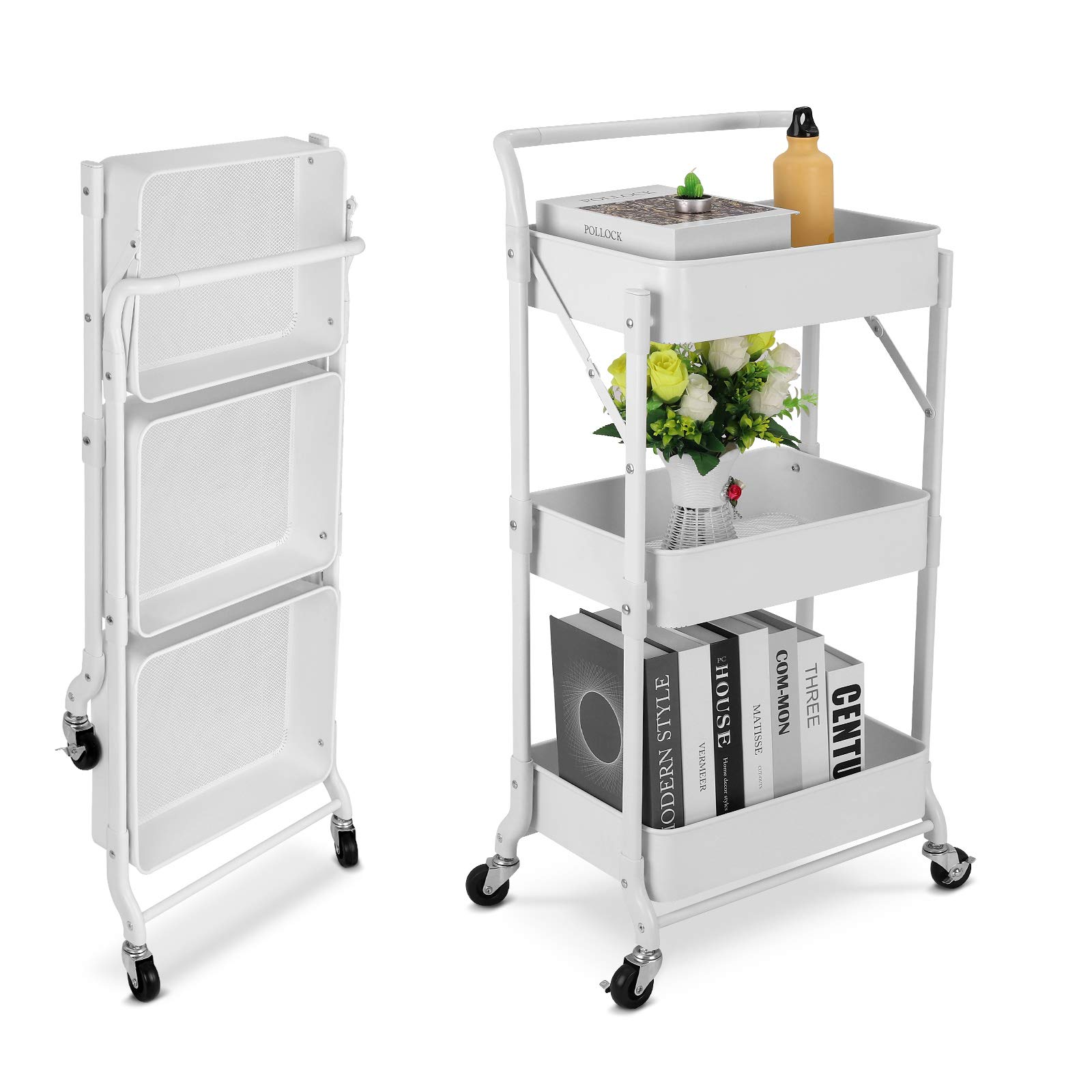 johgee Foldable 3 Tier Metal Utility Rolling Cart, Easy Assembly 100% Carbon Metal Design Folding Mobile Multi-Function Storage Organizer Cart for Home, Office, Outdoor (Foldable-White)