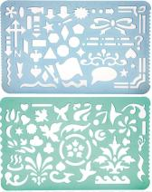 Set of 2 Plastic Stencil Art Templates Drafting Ruler with Various Cut Out Designs for Art and Craft Projects, Artistic Drawing, Tracing, Painting - Ideal for Professionals, Students and Kids
