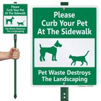 """SmartSign Please Curb Your Pet at The Sidewalk Sign for Yard, Pet Waste Destroys Landscaping Sign for Lawn 