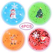 LEEHUR Christmas Party Favors Slime 4Pcs Clear Crystal Stretchy Putty Stocking Stuffers Clay Sludge Squeeze Toys for Kids Adult Stress Relief Christmas Stocking Stuffers Birthday Class Prize